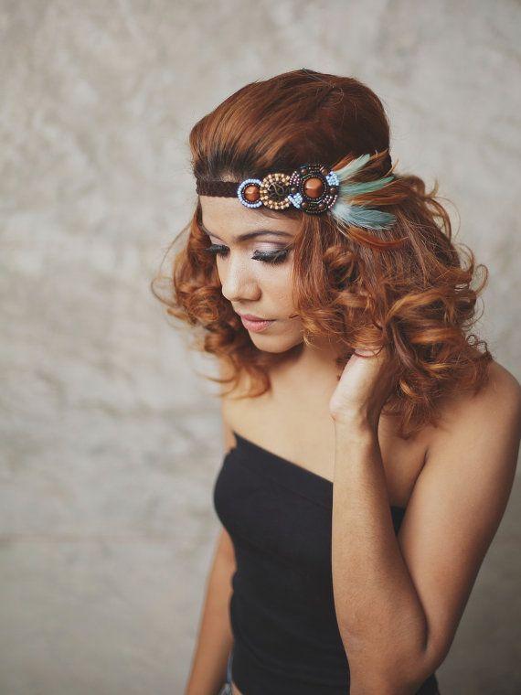 NEW : Indian - Teal, Brown - feather headband, boho headband, hippies headband,feather hair accessories,Indian headband on Etsy, $18.95