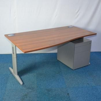 walnut 1600x800 wave desk pedestal used office furniture for