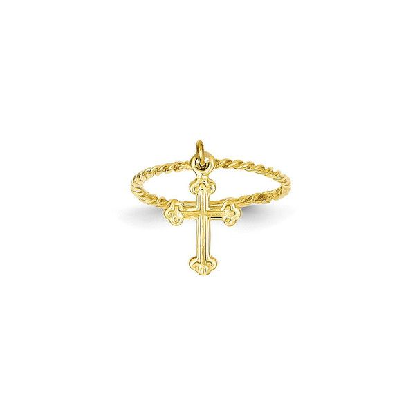 14k Yellow Gold Cross Dangle Twisted Band Childs Ring Religious