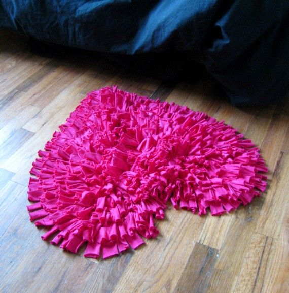 Feel Love Collection Heart Shaped Rug In Hot Pink. $60.00, Via Etsy.