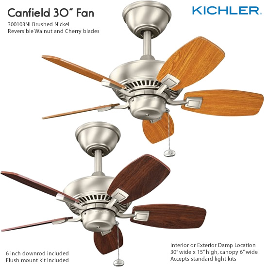 Kichler Canfield 30 Damp Location Ceiling Fans Small Ceiling
