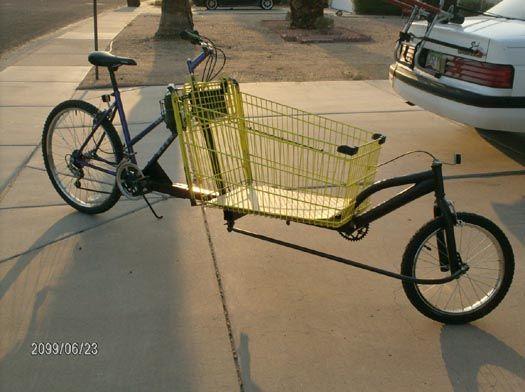 Shopping Cart Cargo Bike Hack Bike Hacks Cargo Bike Biking Diy
