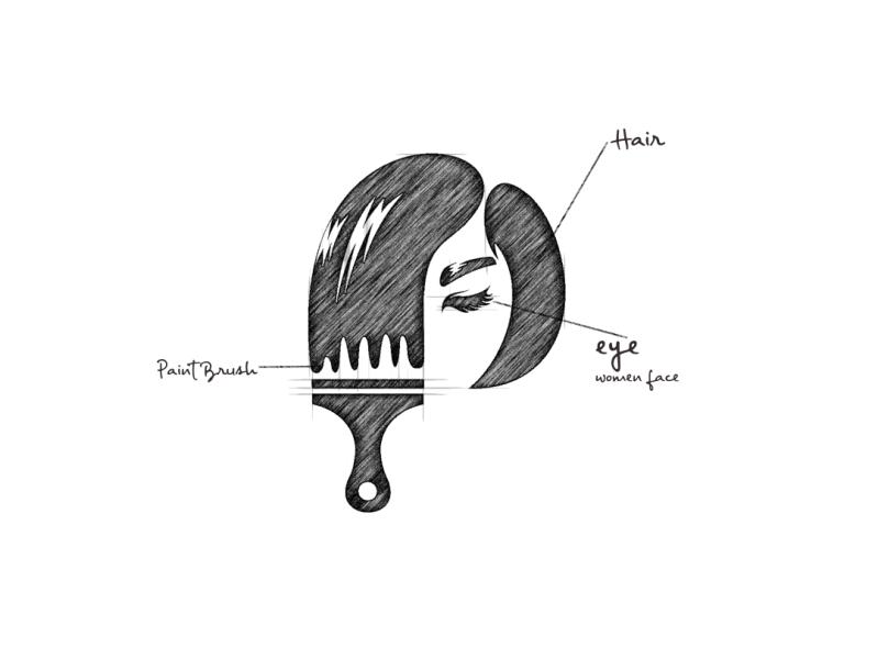 Hair Brush In 2020 Hair Brush Hair Color Brush Beauty Logo Design