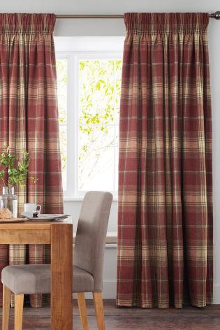 Buy Red Woven Check Stirling Pencil Pleat Curtains From The Next UK Online Shop