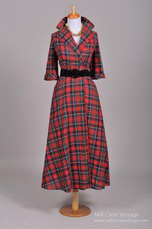 1950's Cotton Plaid Vintage Coat Dress...must have by next ...