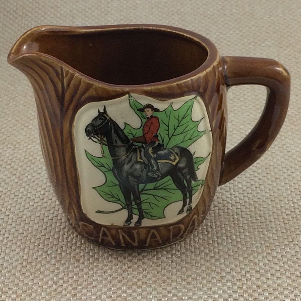 Vintage Canadian Mountie RCMP Creamer Green Maple Leaf