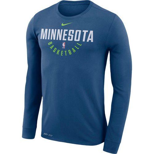 bc6645b4 Men's Minnesota Timberwolves Nike Blue Practice Long Sleeve Performance T- Shirt