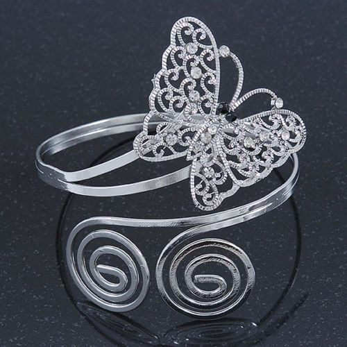 Silver-Plated-Filigree-Crystal-Butterfly-Twirl-Upper-Arm-Armlet-Bracelet