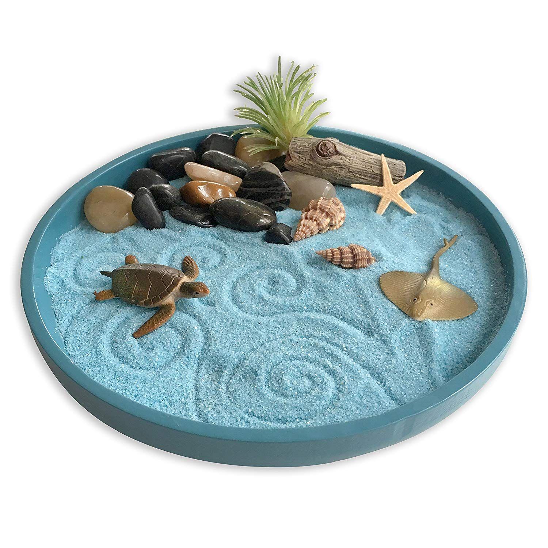 Amazon Com Mini Zen Garden Sea Life A Day At The Ocean Desktop Sandbox For Meditation And Relaxation To Miniature Zen Garden Mini Zen Garden Zen Garden Diy
