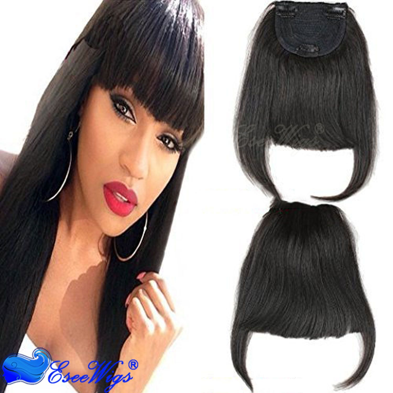 Brazilian Human Hair Clip In Hair Bang Full Fringe Short Straight