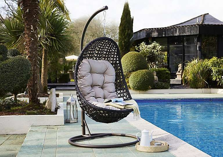 Hanging Pod Style Chair In Flat Weave Grey PU Rattan With Grey Cushions Or  Brown Or Biscuit PU Rattan With Beige Cushions. Strong And Durable Stand  And Ring ...