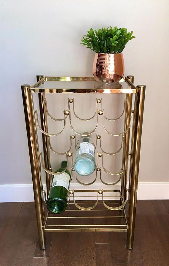 Vintage Brass Wine Rack, Brass Glass Shelf, Holds 9 Bottles   Wine ...