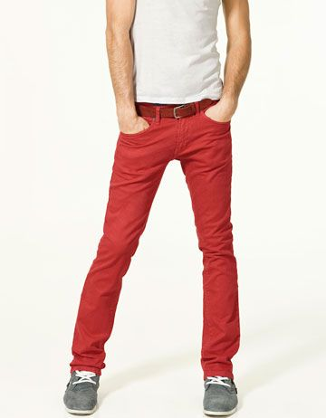 I love red jeans on girls, but this is cool too. zara on sale.