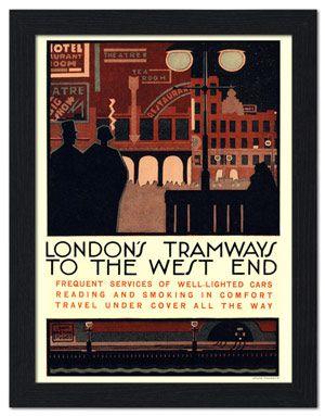 Ap Frame 2624k London S Tramways To The West End 1920s Travel Poster Framed Print 32x42cm Black Travel Posters London Poster Transportation Poster