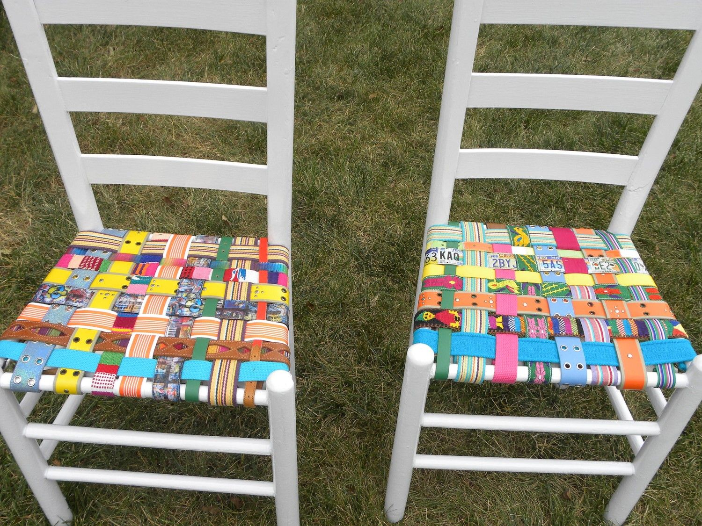 Love. Love. Love! Multi-Colored BeltArt Ladderback Chair ...