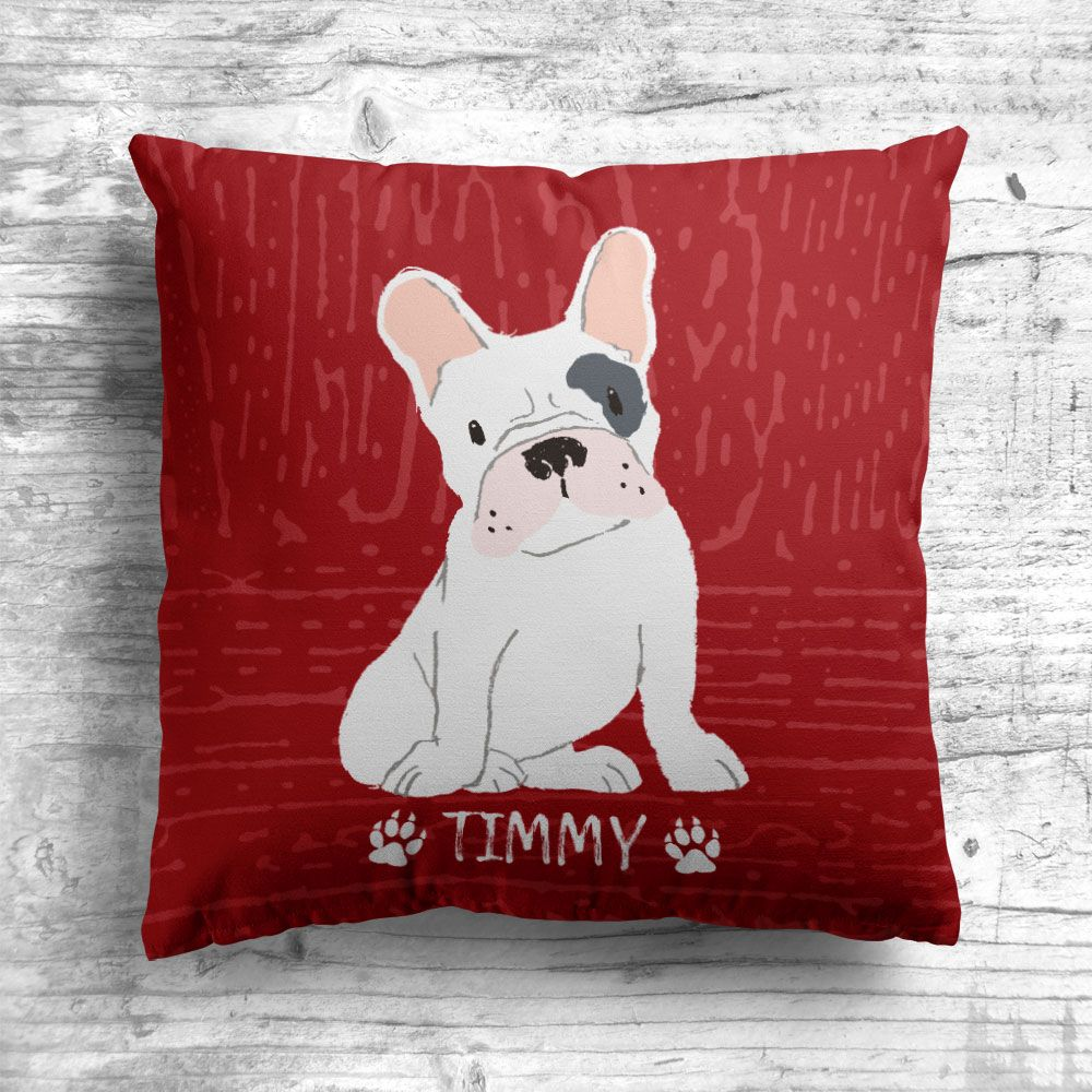 Personalised French Bulldog Cushion in 10 Colour Options