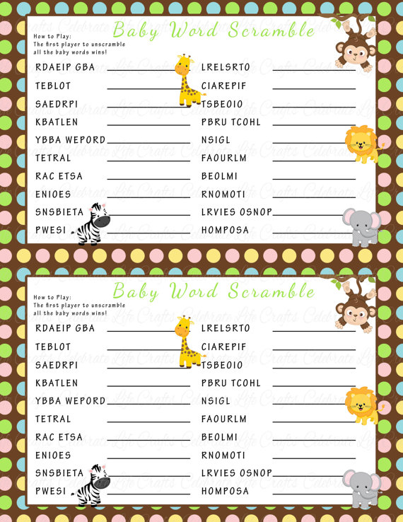 picture about Baby Shower Word Scramble Printable known as Child Shower Term Scramble Recreation - Printable Little one Shower Game titles