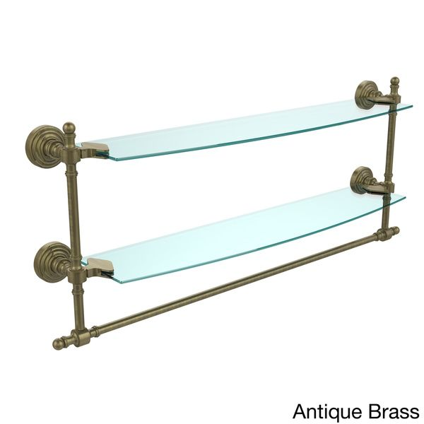 Retro Wave Collection 24-inch Two Tiered Glass Shelf with Integrated