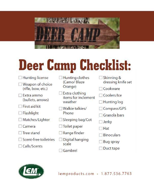 LEM Deer Camp Checklist