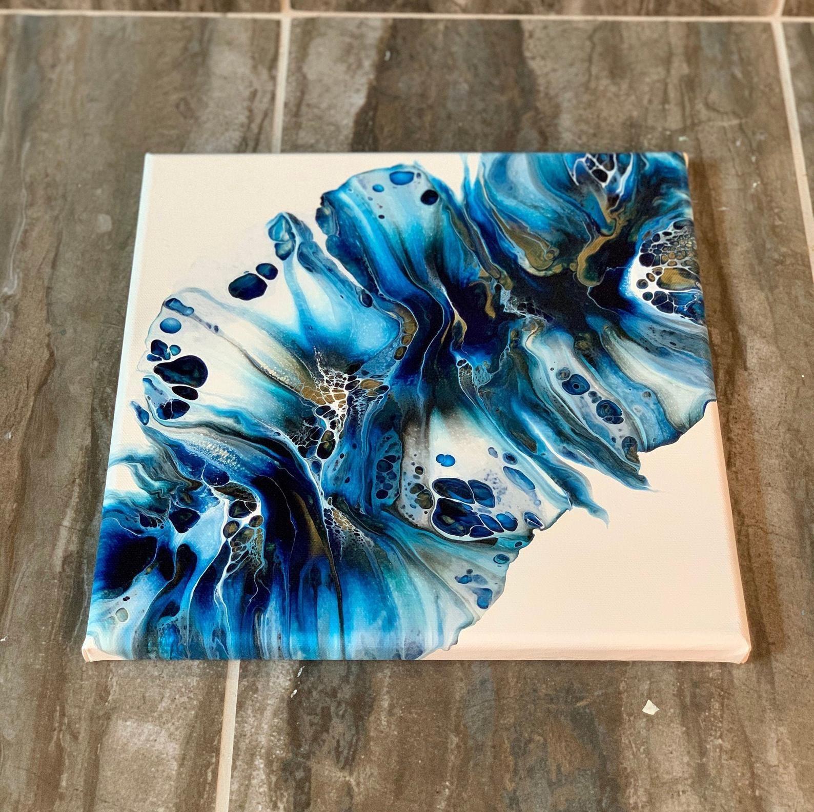 Wall Art Fluid Art Pour Painting 12 x 12 Canvas Acrylic Abstract