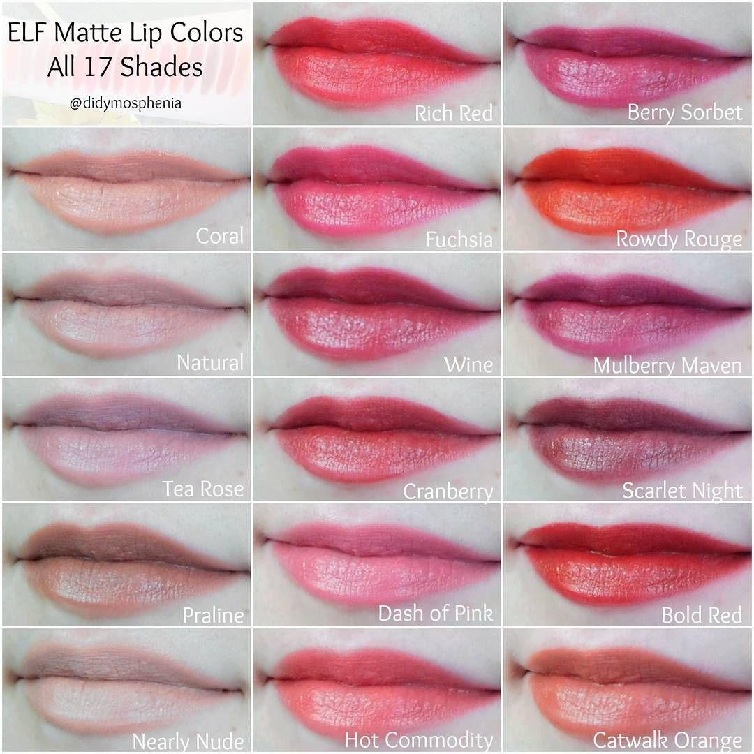 Lip swatches of all 17 shades of the elf matte lip colors | My ...