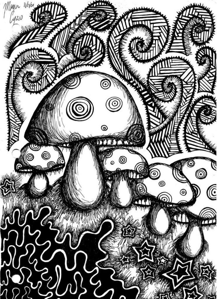 Psychedelic Mushroom Coloring Pages Online printable trippy <b ...