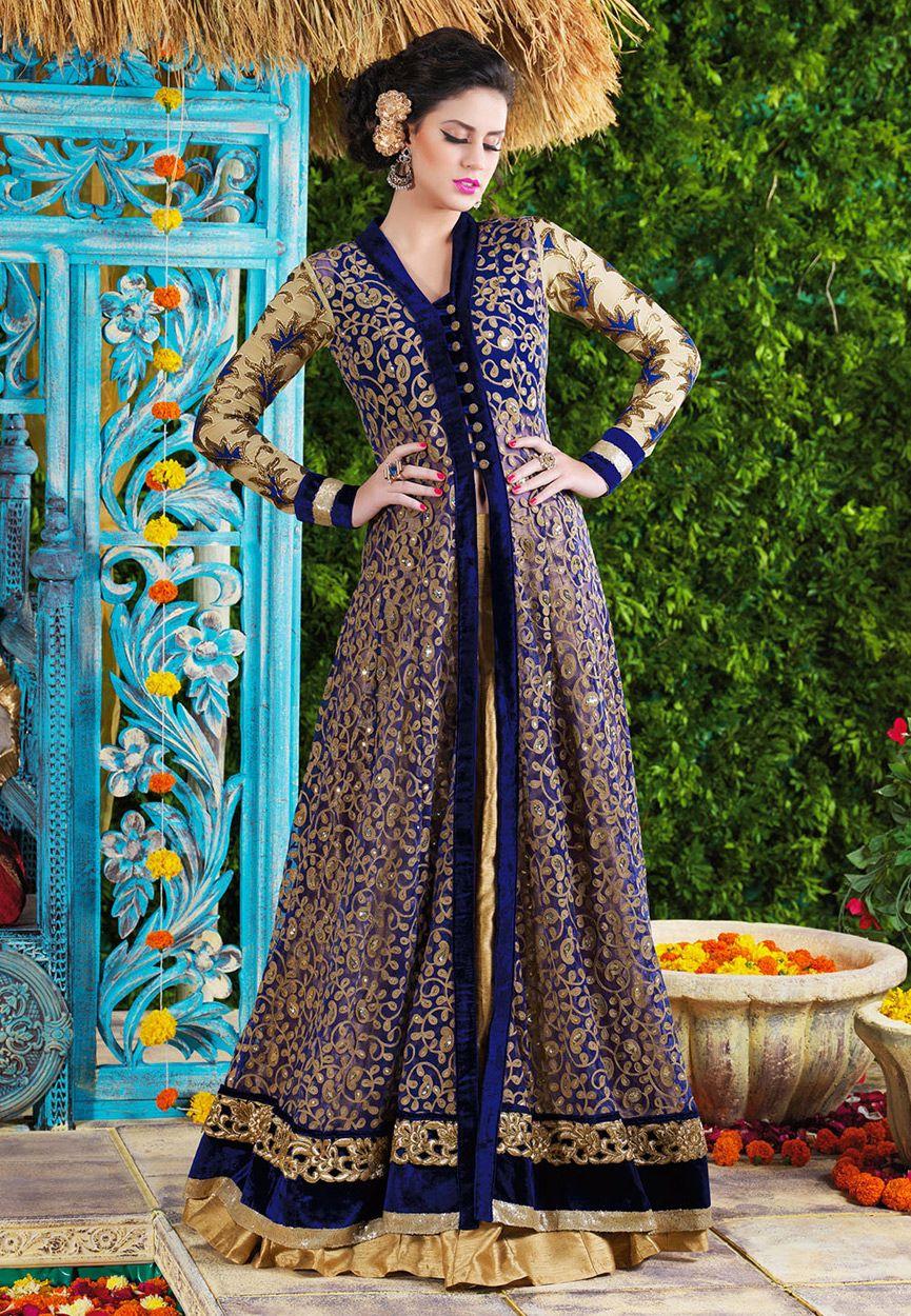 Buy Blue Net Jacket Style Kameez with Straight Pant online, work: Embroidered, color: Blue, usage: Wedding, category: Salwar Kameez, fabric: Net, price: $149.00, item code: KHA259, gender: women, brand: Utsav