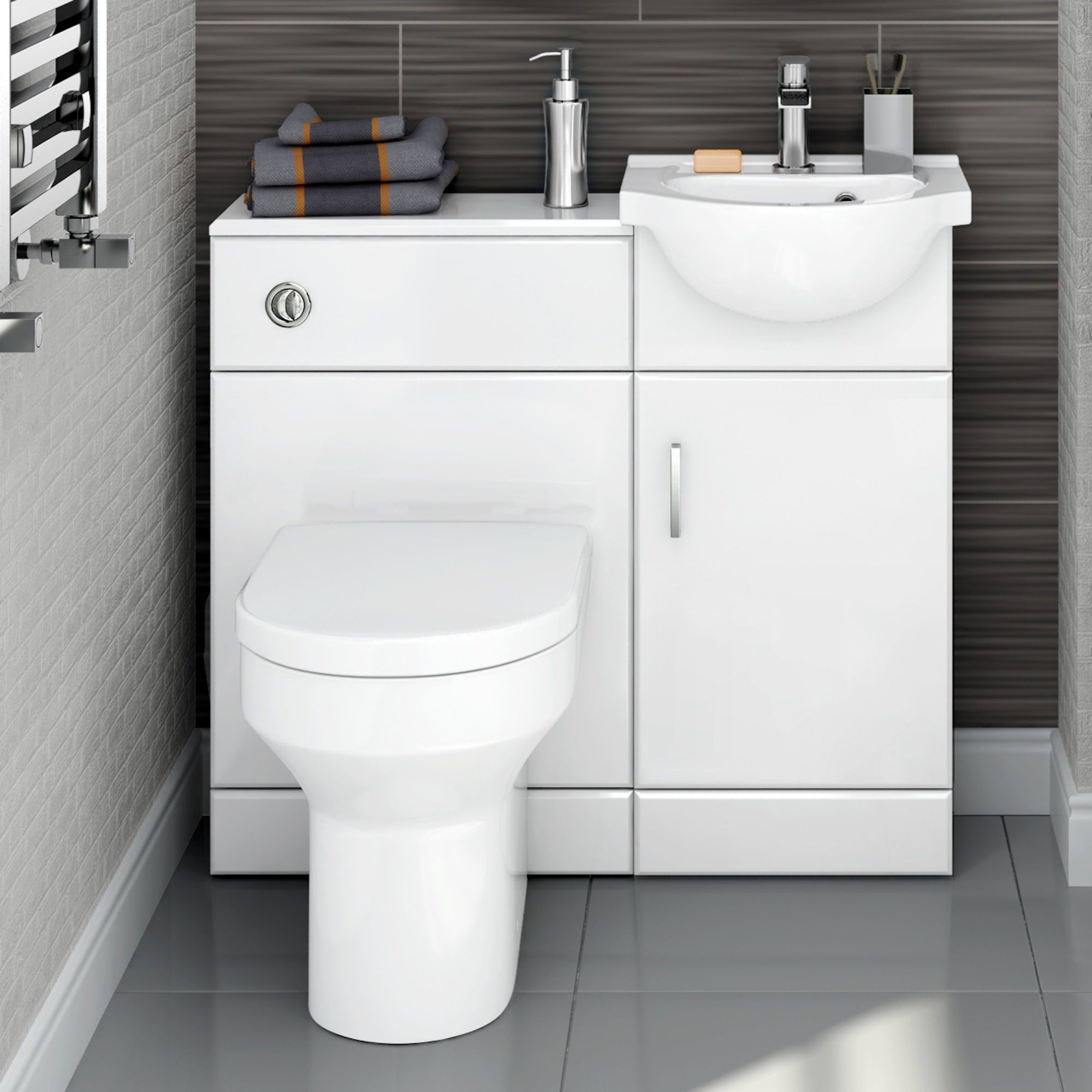 903mm Quartz Gloss White Combined Suite With Toilet Basin