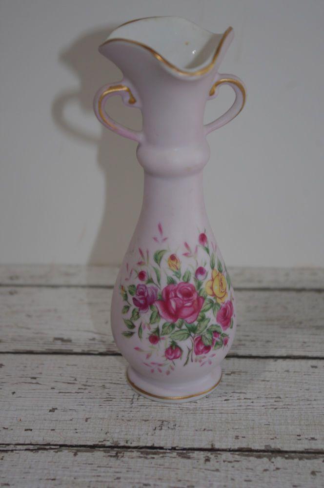 Vintage Lefton China Bud Vase Pink Yellow Roses With Sticker