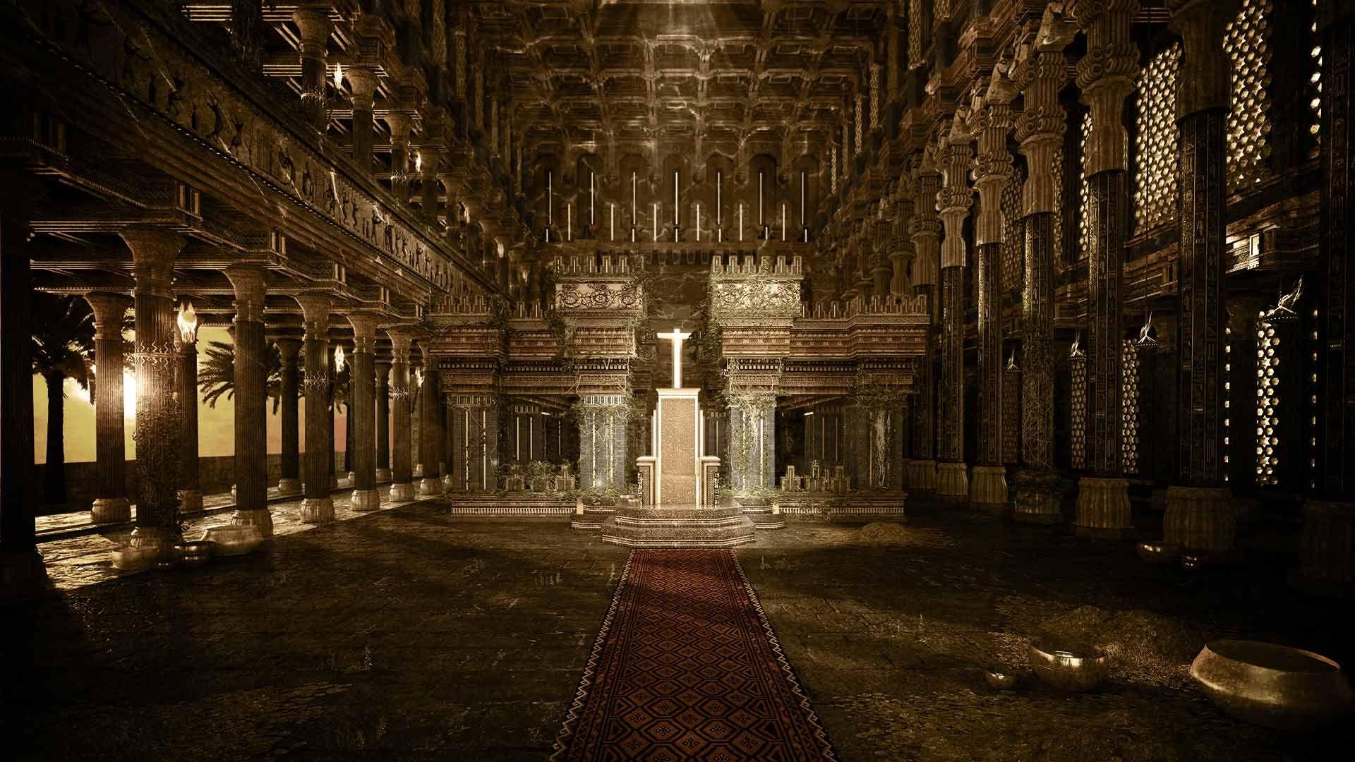 """El salón del trono de Midas. Escenario digital para la serie """"Midas, rey"""" de imaginium.es"""