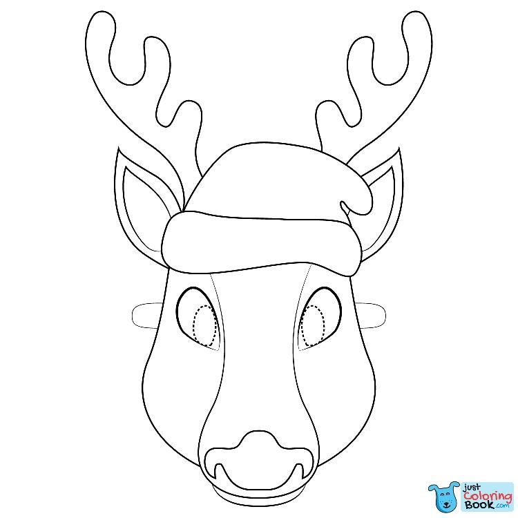 Christmas Reindeer Mask Coloring Page Deer Coloring Pages Deer