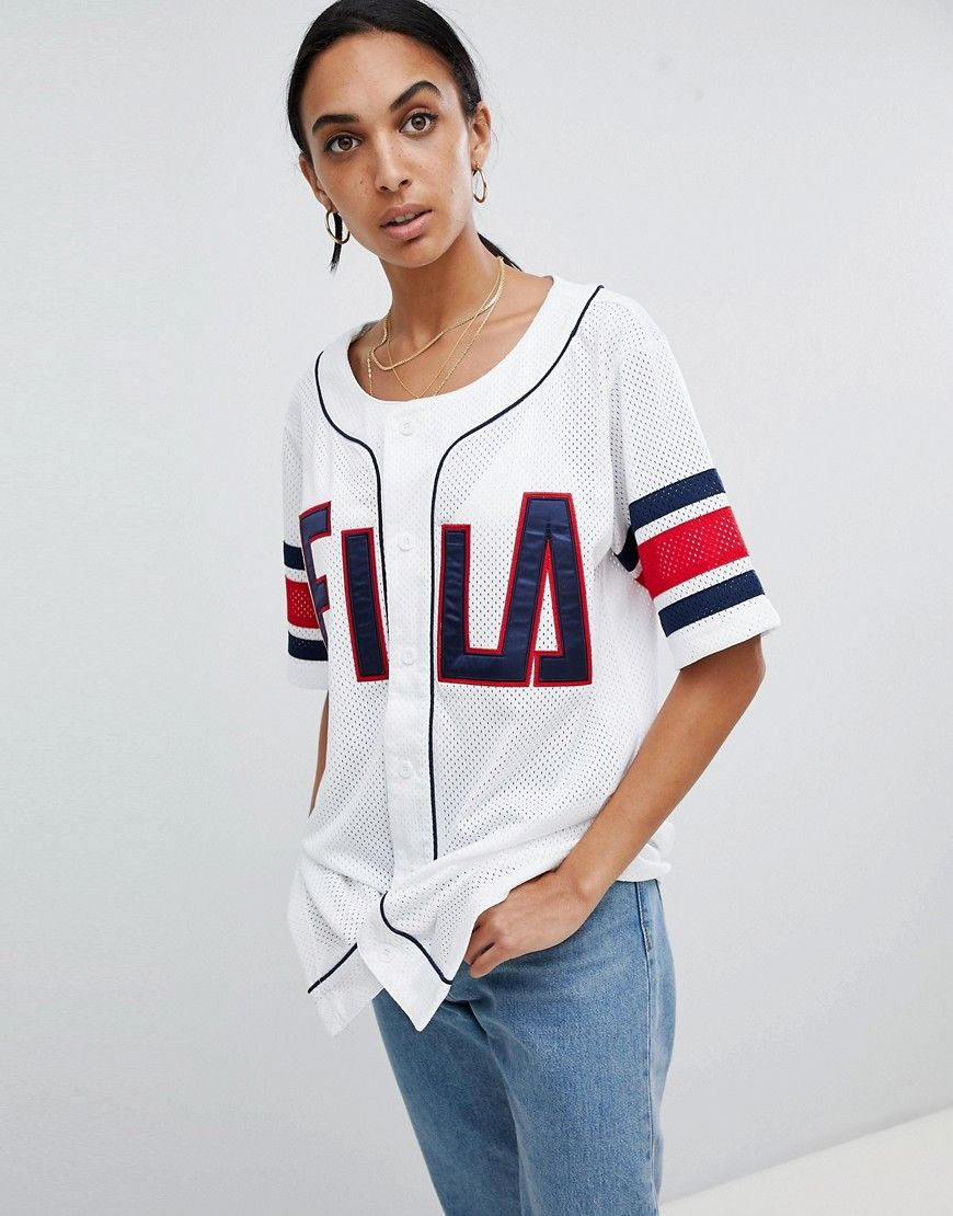 a3f938d2d8e8 FILA OVERSIZED BASEBALL JERSEY IN MESH - WHITE.  fila  cloth ...