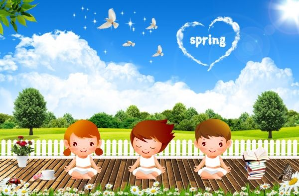 spring backgrounds psd cartoon children materials the creative concepts psd material - Spring Pictures For Children