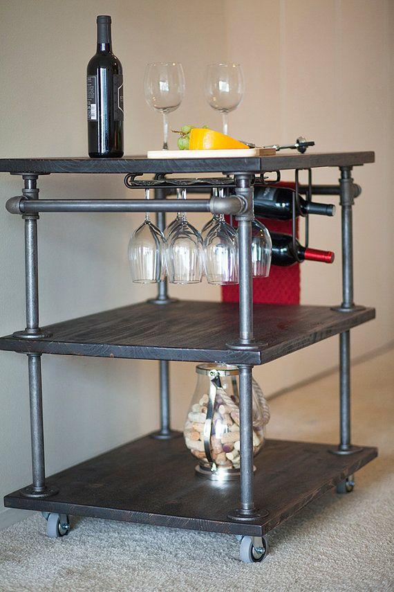 Tubería industrial vino bar carrito de cocina con vino | casa ...