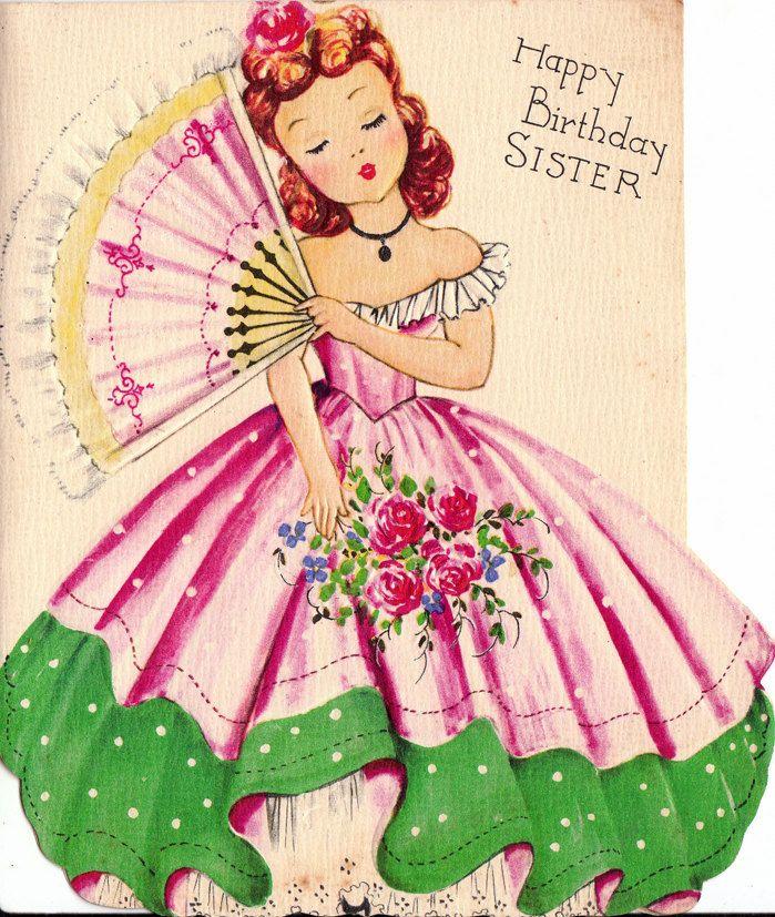Vintage 1950s UNUSED Happy Birthday Sister Greetings Card B63 – Happy Birthday Cards for Sister