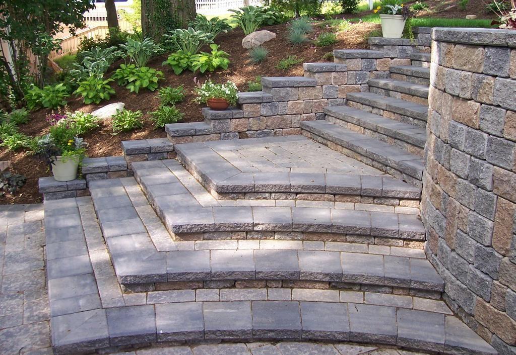 eye-catching terrace brick steps