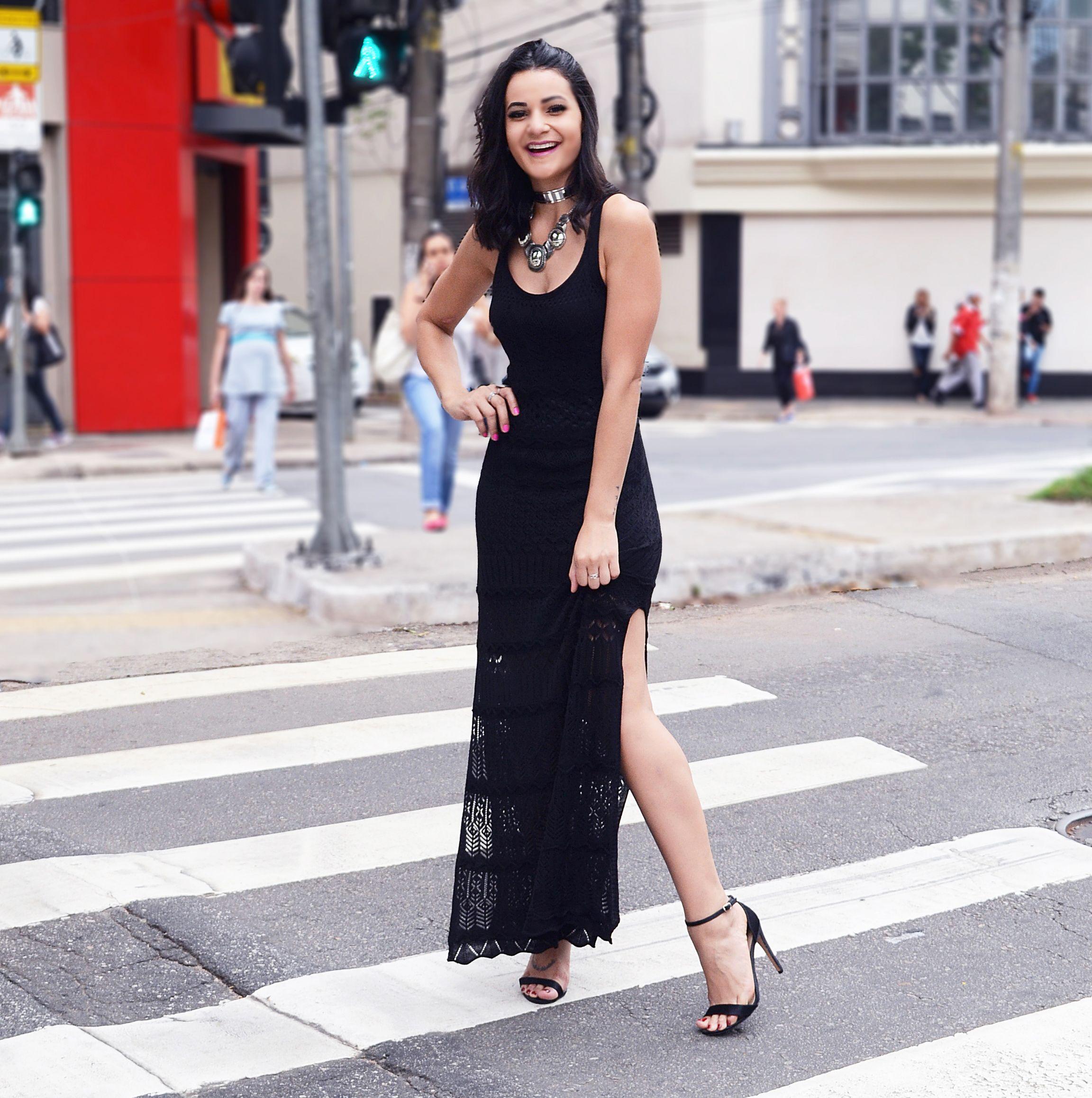 Vestido longo preto para o dia