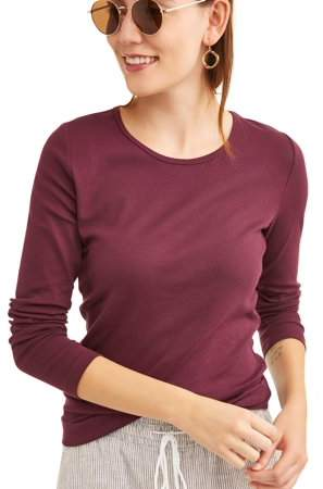 33ad2d03 Women's Long Sleeve Ribbed Crewneck T-Shirt | Products | Crew neck ...