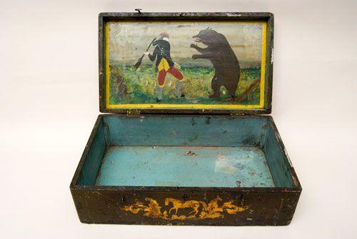 Artist Unknown Art  Painted Artisan's Box, 19th century,1875-1895 Location Unknown  folk art box Patriotic Antique American Folk