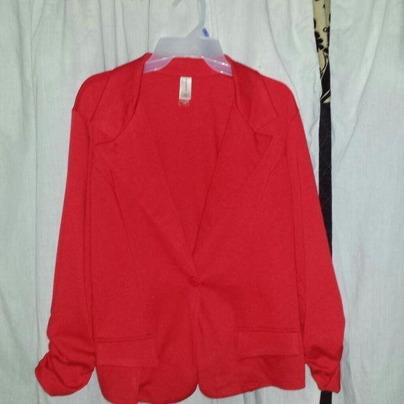 Candy apple red blazer Candy apple red blazer 72% polyester, 24% rayon 4% spandex. Jackets & Coats Blazers