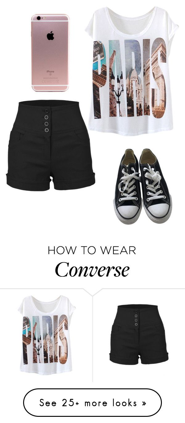 """Paris "" by kikabijelic on Polyvore featuring LE3NO and Converse"