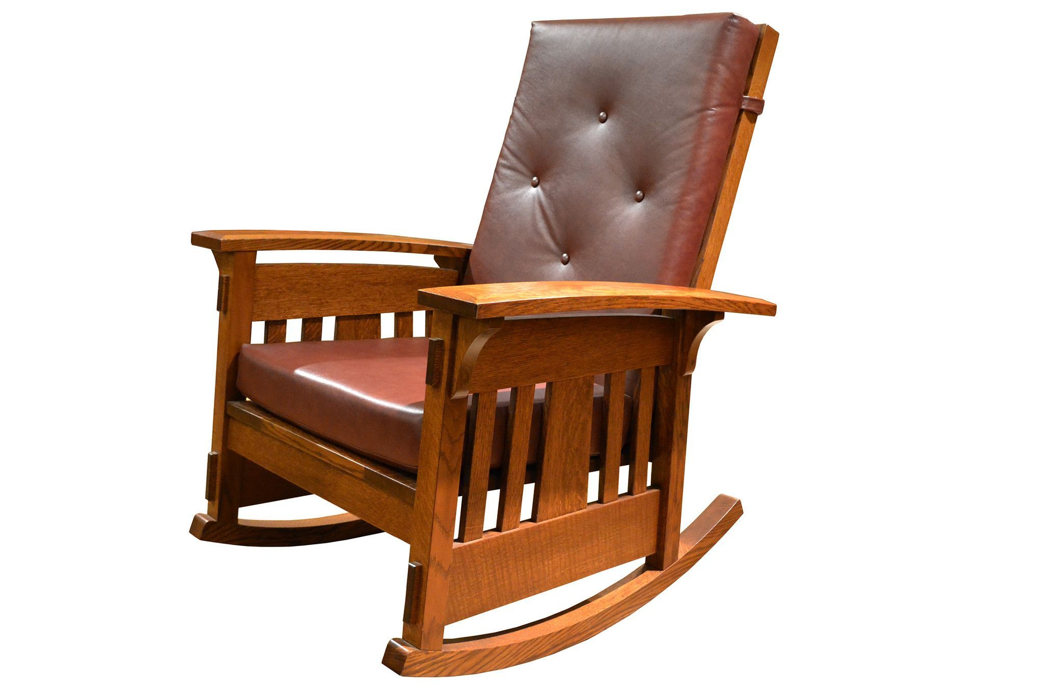 Arts and crafts chairs - Amish Made Arts And Crafts Quarter Sawn Oak Rocking Chair Leather