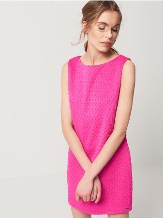 482854a4c5 Mohito - Sukienka z żakardowej dzianiny Sukienka o prostym klasycznym  fasonie bez rękawów. Dekolt w
