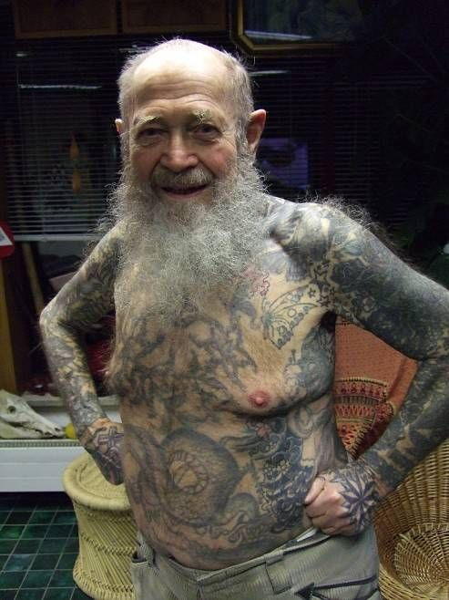 Image result for old tattooed man