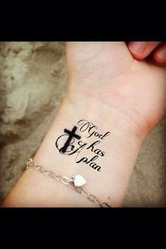 Wrist tattoo black cursive with quote god has a plan for How to plan tattoos