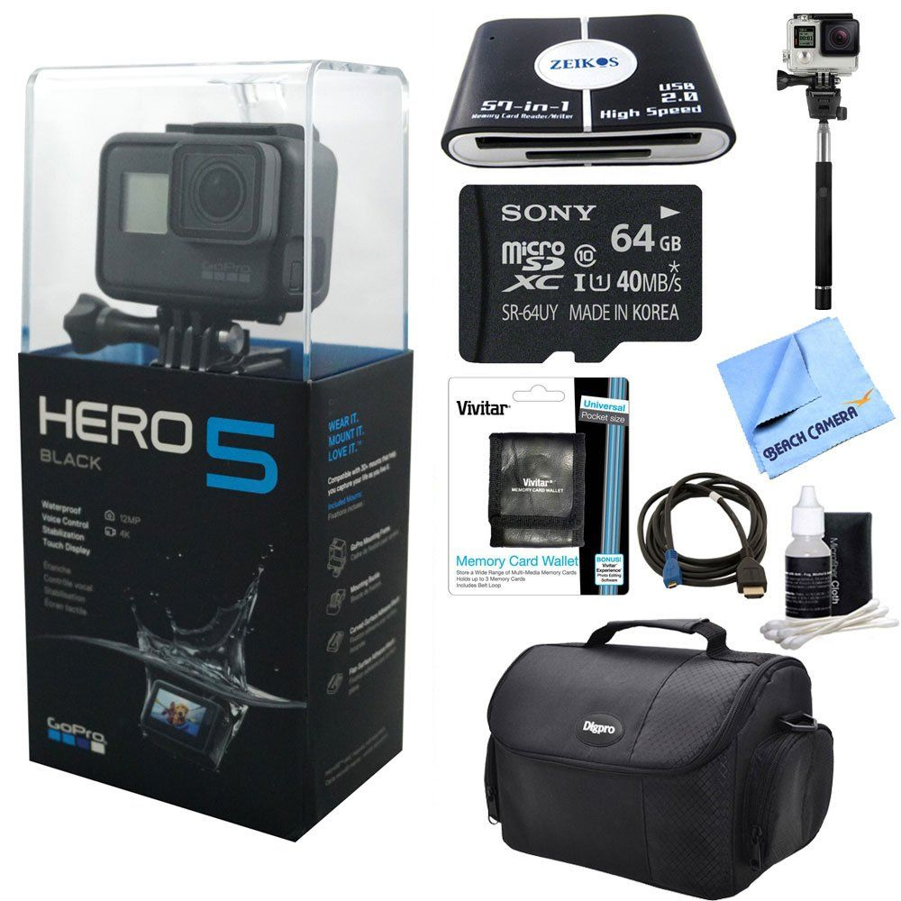 Gopro Hero5 Black Action Camera Ready For Adventure Kit Includes Camera 64gb Microsd Memory Card Card Wallet Card Action Camera Camera Case Gopro