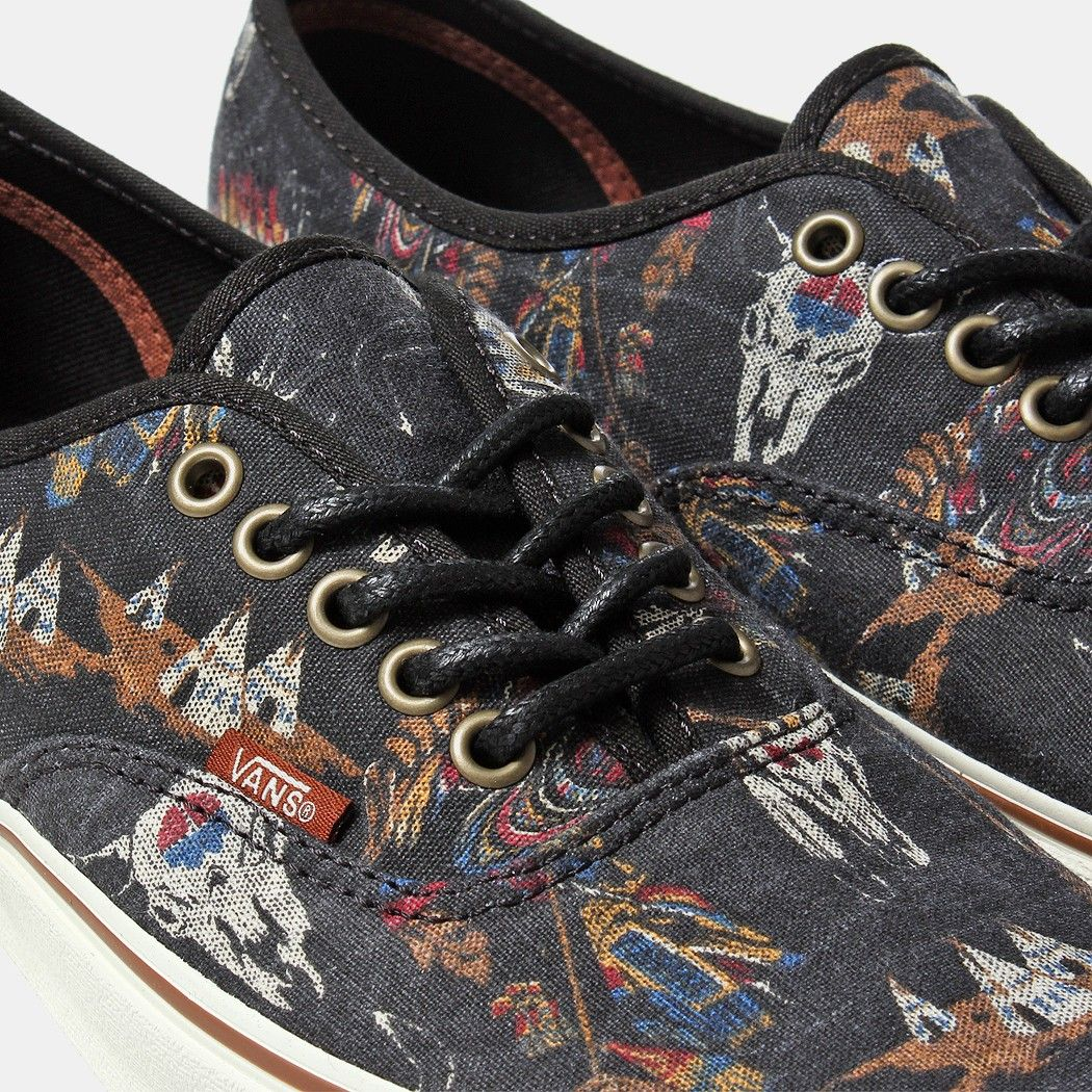 db3209418d Vans Authentic Shoes    Tribal Leaders - Black    Native American Print  Canvas Sneakers