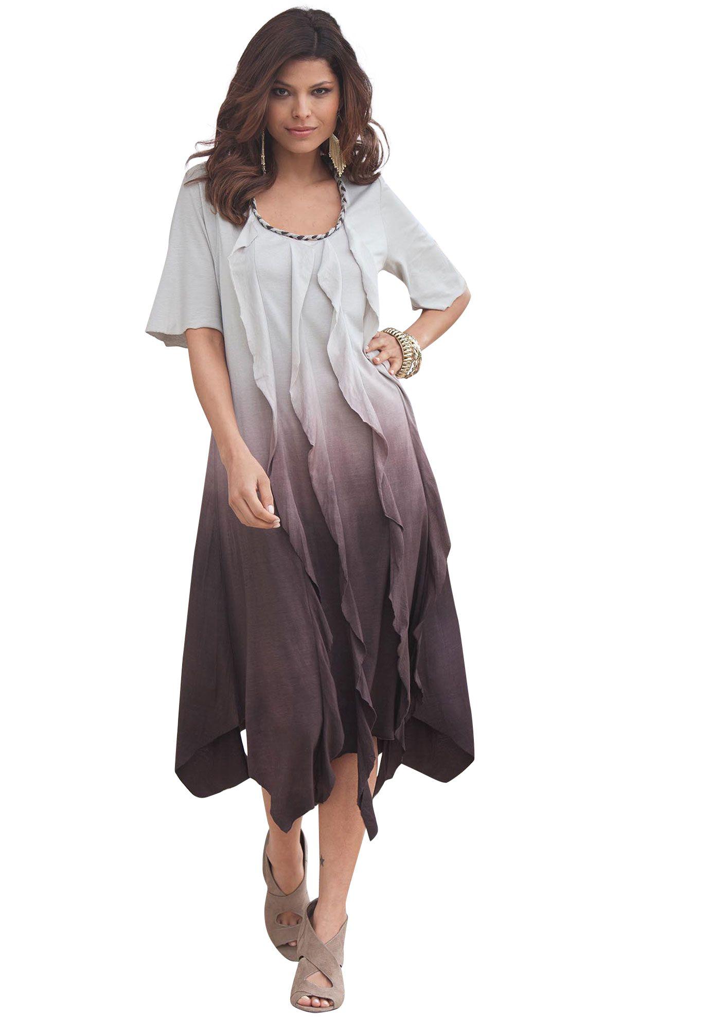 Plus Size Ombre Ripple Dress By Denim 247 Plus Size Dresses