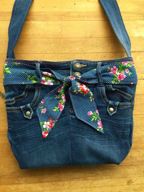 Upcycled Tommy Hilfiger Jeans Cross Body Bag, Denim Purse, Eco Friendly, Navy Blue, Floral Fabric, Embroidered