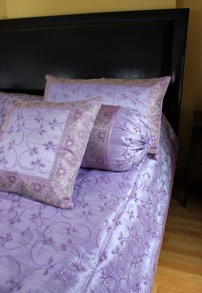 Luxurious light purple 7 piece bedding set indian hand for Design my own bed set